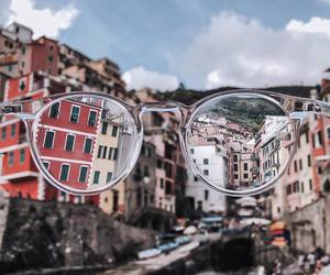 city, glasses, and red image
