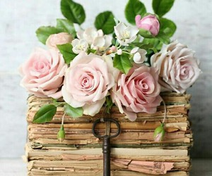 flowers, rose, and books image