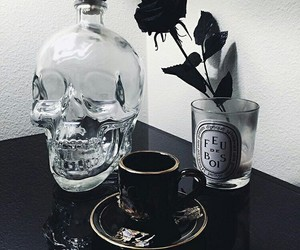 black, goth, and rose image