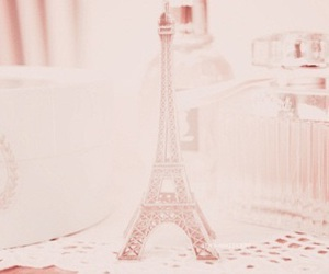 pink, paris, and eiffel tower image