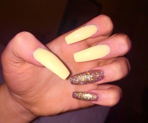nails, acrylics, and glitter image