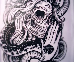 skull, tattoo, and snake image