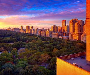 autumn, Central Park, and colorful sky image