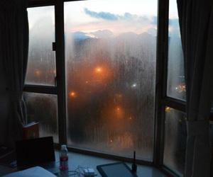 rain, window, and bed image