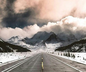 road, clouds, and winter image