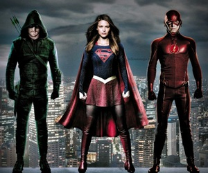 Supergirl, the flash, and oliver queen image