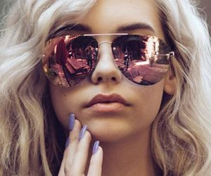 blonde, retro, and sunglasses image