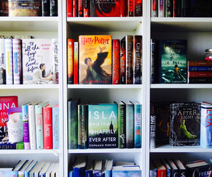 books, bookshelf, and harry potter image