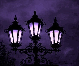 night, purple, and light image