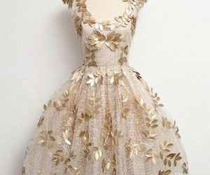 dress, gold, and outfit image