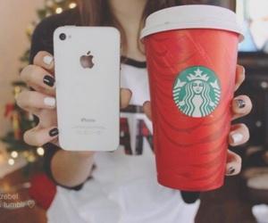 starbucks, iphone, and girl image