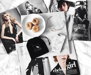 magazine, donuts, and food image