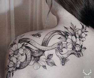 tattoo, flowers, and snake image