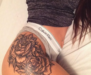 tattoo, rose, and Calvin Klein image
