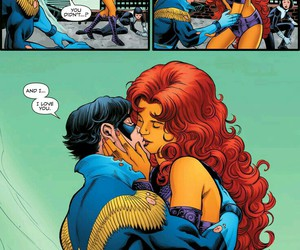 dick grayson, starfire, and love image