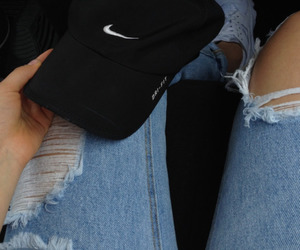 nike, jeans, and black image