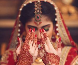 bride, henna, and wedding image