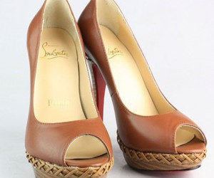 brown shoes, christian louboutin, and peep toe shoes image