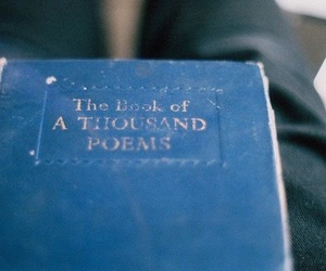 book, poem, and blue image