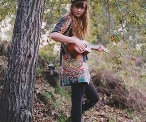 girl, guitar, and ukulele image
