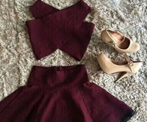 dress, outfit, and bordeaux image