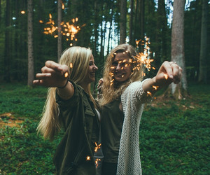 friends, girls, and forest image