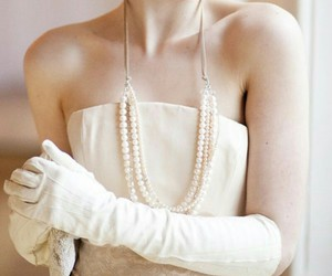 pearls, girl, and gloves image
