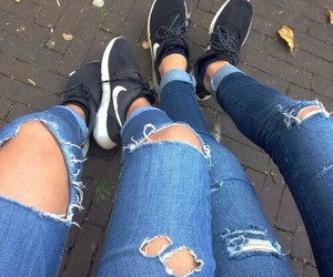 nike, jeans, and girl image