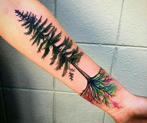 tree, tattoo, and watercolor image