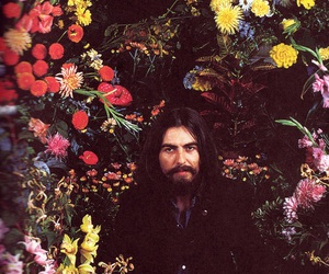 george harrison, flowers, and the beatles image