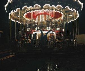 carousel, lights, and fair image