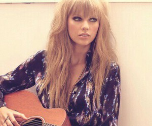 Taylor Swift, long hair with bangs, and flawless makeup image