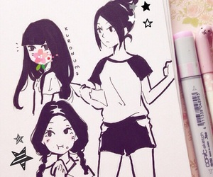 draw, girls, and japan image
