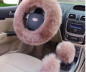 car, pink, and fur image