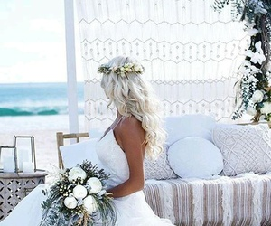 white, bride, and flowers image