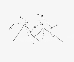 mountains, stars, and drawing image