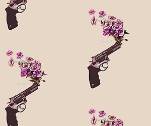 background, flowers, and pistol image