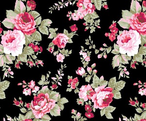 black, floral, and pattern image