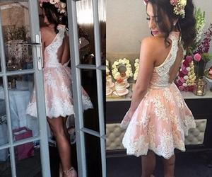 dress, lace homecoming dress, and blush homecoming dress image