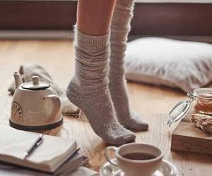 socks, tea, and book image