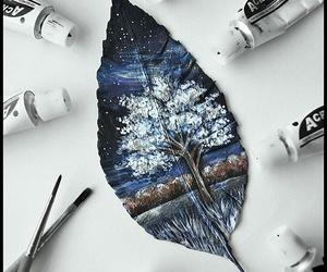 art, leaves, and tree image