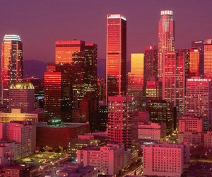 city, los angeles, and lights image