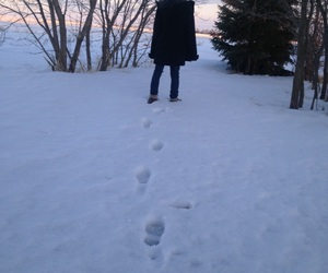 snow, foot prints, and girl image