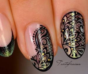 black, Motif, and nail art image