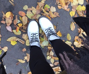 autumn, dr. martens, and leaves image