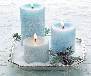 candle, blue, and winter image