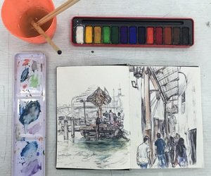 art, colours, and paint image