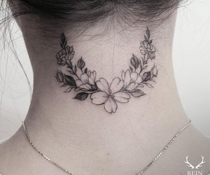 tattoo, flowers, and neck image