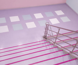 aesthetic, pink, and stairs image