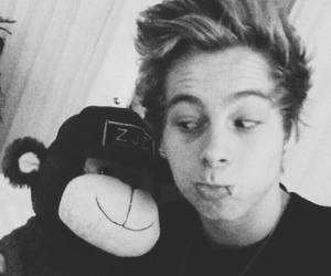 black and white, plush, and luke hemmings image